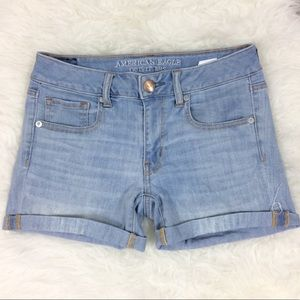 American Eagle Midi Denim Shorts Light Wash 6